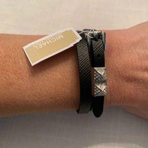 NWT Michael Kors Black Leather Wrap Bracelet